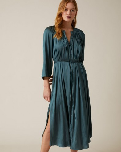 JIGSAW CROCUS DRAPE DRESS SEAWEED ~ gathered neckline dresses
