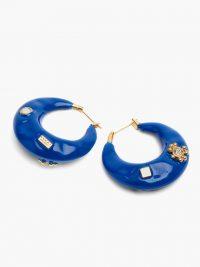 MARNI Crystal-embellished enamel hoop earrings ~ vivid blue hoops