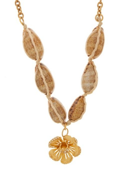 MARINE SERRE Crystal-studded floral necklace | sea inspired necklaces | shells