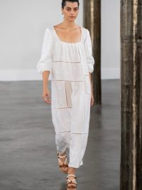 GABRIELA HEARST Daphine patchwork linen-blend dress in white | luxe warm weather dresses
