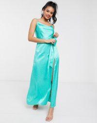Dark Pink cowl satin jacquard slip dress with thigh high split in aqua | blue longline cami frock