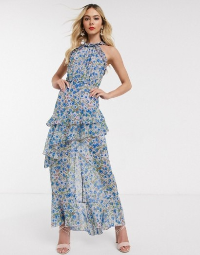 Dark Pink high neck maxi dress in blue floral | tiered occasion dresses