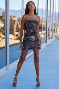 Club L London Dark Silver Ruched Mesh Bandeau Mini Dress – strapless metallic dresses