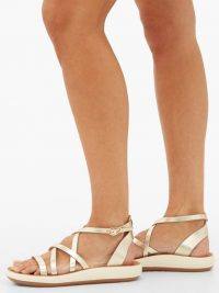 ANCIENT GREEK SANDALS Delia leather flatform sandals | strappy metallic flatforms