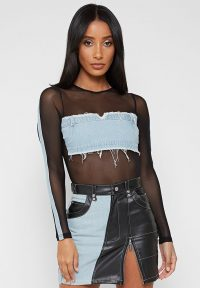 Manière De Voir DENIM PANEL BODYSUIT LIGHT BLUE/BLACK