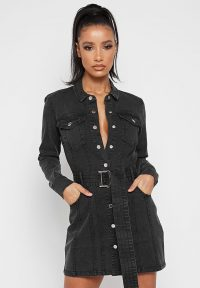 Manière De Voir DENIM SHIRT DRESS WASHED BLACK