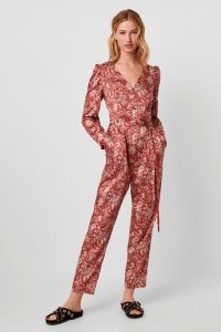 French Connection DEONA PAISLEY V NECK JUMPSUIT