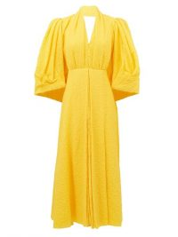 EMILIA WICKSTEAD Deva yellow puff-sleeve cotton-blend cloqué dress