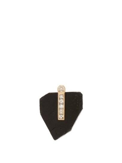 DEZSO Diamond, black tourmaline & 18kt gold pendant ~ contemporary luxe pendants - flipped