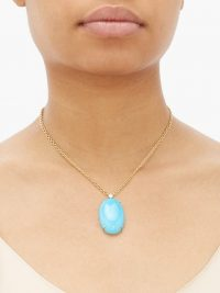 IRENE NEUWIRTH Diamond, turquoise & 18kt gold oval pendant necklace – luxury blue stone pendants