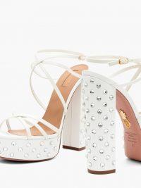 AQUAZZURA Disco crystal-embellished leather platform sandals in white ~ strappy block heel platforms