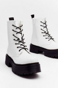 NASTY GAL Don't Give Lace-Up Faux Leather Hiker Boots White – chunky soles