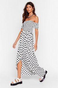 Dot Sure Off-the-Shoulder Maxi Dress / long bardot dresses