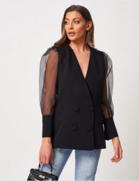 FOREVER UNIQUE Double-Breasted Tuxedo Blazer With Organza Sleeves ~ chic sheer sleeved jacket