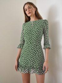 Reformation Doutzen Dress Chive – green floral frill trimmed mini