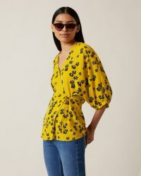 JIGSAW DRIFTING DITSY WRAP BLOUSE SUNFLOWER ~ yellow floral blouses ~ spring clothing