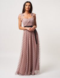 Forever Unique Dusty Pink And Black Polka Dot Mesh Maxi Dress