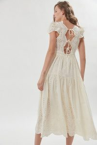 UO Wild Daisy Eyelet Tie-Back Midi Dress White. TIE DETAIL DRESSES
