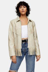 TOPSHOP Ecru Faux Leather Fringe Jacket. MODERN WESTERN LOOK