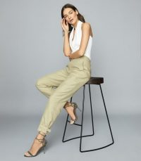 REISS EDEN COTTON-BLEND UTILITY TROUSERS LIGHT GREEN
