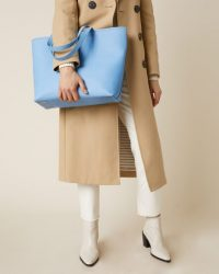JIGSAW ELLORY SAFFIANO LEATHER TOTE BLUE