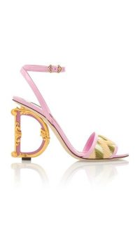 Dolce & Gabbana Embellished 'D' Heel Leather And Raffia Sandals in Pink ~ beautiful Italian footwear