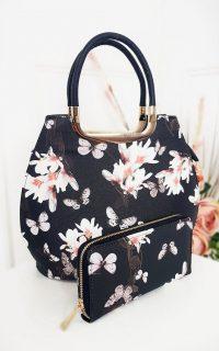 IKRUSH Erin Floral Print Handbag in Black