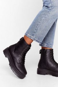 NASTY GAL Eyelet It Go Lace-Up Cleated Boots Black