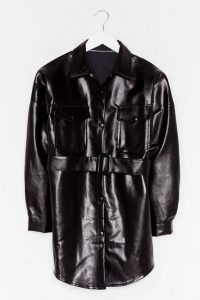 NASTY GAL Faux Leather Change Belted Longline Jacket