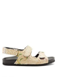 BY WALID Felix velcro-strap embroidered sandals ~ beige floral vintage textile sandals
