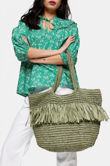 TOPSHOP FENN Fringe Tote Bag Green. FRINGED BAGS