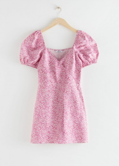 Srories Fitted Puff Sleeve Mini Dress Pink Floral