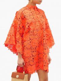 LA VIE STYLE HOUSE Floral appliqué guipure-lace kaftan in orange