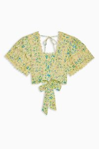 TOPSHOP Floral Crop Embroidered Sun Top