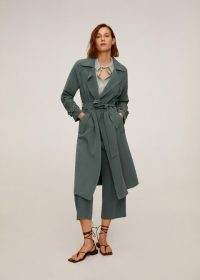 MANGO TAXI Flowy oversize trench green
