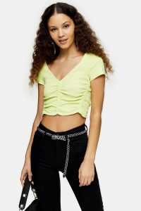 TOPSHOP Fluorescent Yellow Ruched V Neck Top ~ gathered crop tops