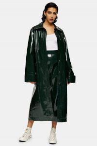 Forest Green Vinyl Leather Parka By Topshop Boutique – shiny coats