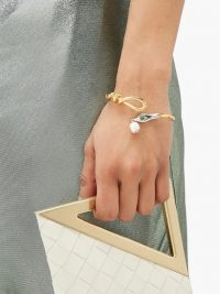 CHLOÉ Freshwater pearl snake cuff ~ luxe gold-tone cuffs