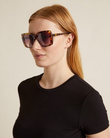 JIGSAW FREYA OVERSIZED SUNGLASSES TORTOISESHELL ~ large brown-tone sunnies - flipped