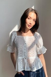 NASTY GAL Frill Cute Though Broderie Anglaise Crop Top