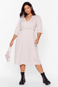 NASTY GAL Frill Doing Our Own Thing Plus Midi Dress Hushed Violet