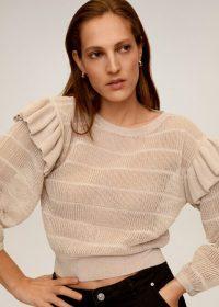 MANGO MENINAS Frilled openwork sweater light pink | feminine knits