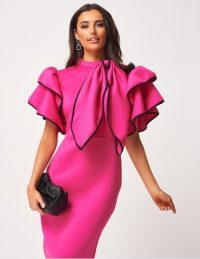 FOREVER UNIQUE Fuchsia High Neck Scuba Ruffle Bodycon Dress With Detachable Bow ~ big bows ~ statement tiered sleeves