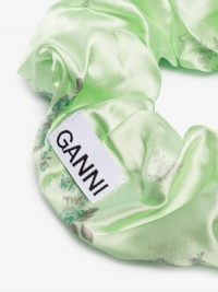 GANNI Green Floral Print Silk Scrunchie | designer hair scrunchies