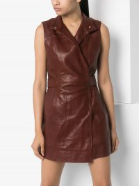 GANNI long belted brown-leather waistcoat