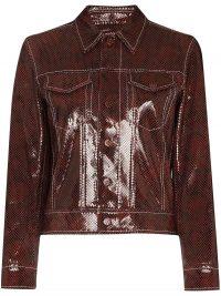 GANNI python-print chocolate leather jacket