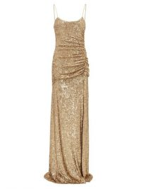 DUNDAS Gathered sequin-embellished gown in gold ~ ruched event gowns