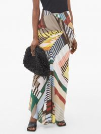RICK OWENS Geometric-print ruched crepe maxi skirt – modern multicoloured skirts