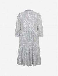GESTUZ Sira metallic woven mini dress in alloy