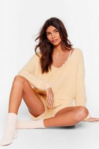 NASTY GAL Get a Luxe in Fluffy Knit Shorts Lounge Set Lemon